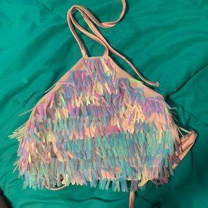 Feather sequin halter top